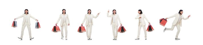 Man with shopping bags isolated on white stock photos