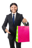 Man with shopping bags isolated Stock Photo