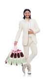 Man with shopping bags isolated on white Stock Photo