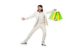 Man with shopping bags isolated on white Stock Images