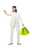 Man with shopping bags isolated on white Royalty Free Stock Photography