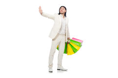 Man with shopping bags isolated on white Royalty Free Stock Image