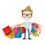 Man shopping bags tired exhausted Stock Photo