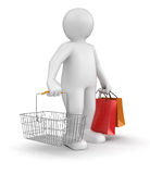 Man with Shopping Basket (clipping path included) Royalty Free Stock Photo