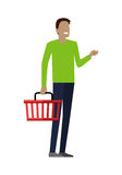 Man with Shopping Basket Stock Photo