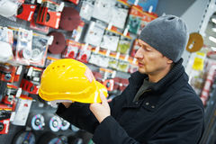 Man shopping at building hardware store Stock Images