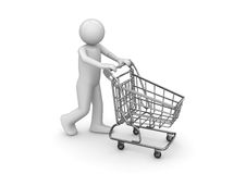Man with shopping cart Stock Photos