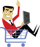 Man in Shopping Cart Royalty Free Stock Image
