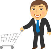 Man with shopping cart Royalty Free Stock Images