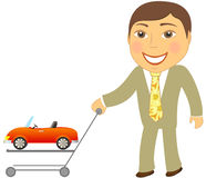Man with shopping cart and car cabriolet Stock Images