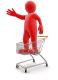 Man and Shopping Cart (clipping path included) Stock Photography