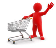 Man and Shopping Cart (clipping path included) Royalty Free Stock Photos