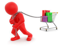 Man and Shopping Cart (clipping path included) Royalty Free Stock Images