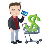 Man with a shopping cart and credit card Stock Photography