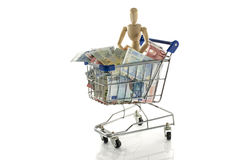 Man shopping  cart full of euros Stock Photography