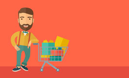 Man with shopping cart Stock Image