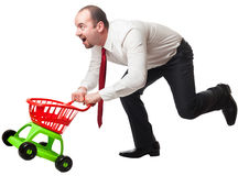 Man with shopping cart Stock Photography