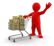 Man and Shopping Cart with packages (clipping path included) Royalty Free Stock Photo