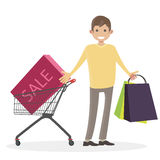 A man with a shopping cart trolley goes shopping  from the store. Buyer. Character people vector illustration flat. Stock Image