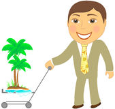 Man with shopping cart and tropical island Royalty Free Stock Image