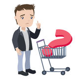 Man with a shopping cart and visa card Royalty Free Stock Images