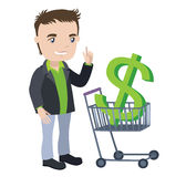 Man with a shopping cart and visa card Stock Images