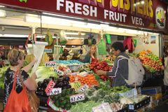 Man is shopping at the central market in Adelaide, Australia  Stock Photo