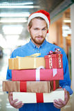 Man shopping for Christmas Royalty Free Stock Photo