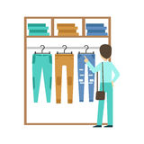 Man shopping for clothes at clothing store, colorful vector illustration. Isolated on a white background Stock Photography