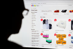 Man Shopping on Ebay Royalty Free Stock Image