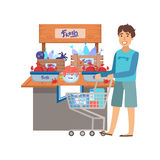 Man Shopping For Fresh Seafood, Shopping Mall And Department Store Section Illustration Royalty Free Stock Image