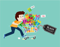 Man shopping gift End of season sale black Friday,during Christmas .vector business cartoon illustration. royalty free illustration
