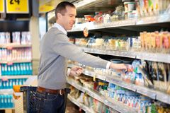Man Shopping in Grocery Store Royalty Free Stock Image