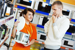 Man shopping at home appliance supermarket Stock Photo