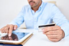 Man shopping online royalty free stock image