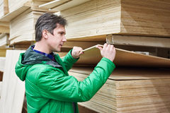 Man shopping for plywood in shop Royalty Free Stock Image