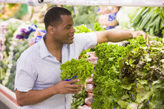 Man shopping in produce section. Man shopping in produce department of supermarket Royalty Free Stock Images