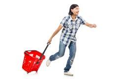 Man shopping with supermarket basket cart Royalty Free Stock Photos