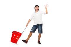 Man shopping with supermarket basket cart Stock Images