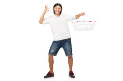 Man shopping with supermarket basket cart Royalty Free Stock Photography