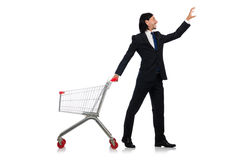 Man shopping with supermarket basket cart Stock Images