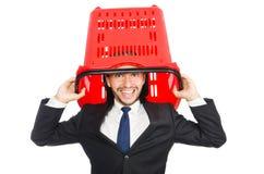 Man shopping with supermarket basket cart Stock Photography