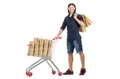 Man shopping with supermarket basket cart Royalty Free Stock Photo