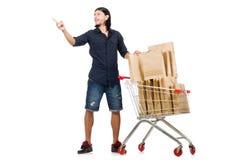 Man shopping with supermarket basket cart Stock Photo