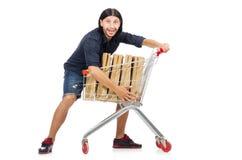 Man shopping with supermarket basket cart Royalty Free Stock Image
