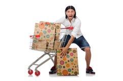 Man shopping with supermarket basket cart Royalty Free Stock Images