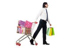 Man shopping with supermarket basket cart Stock Image