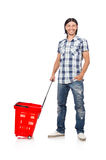 Man shopping with supermarket basket cart Royalty Free Stock Photo