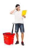 Man shopping with supermarket basket cart Royalty Free Stock Photos