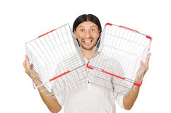 Man shopping with supermarket basket cart Stock Image